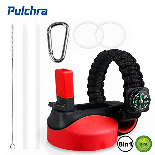 Pulchra Lids/Caps for Wide Mouth Bottle, Wide Mouth Straw Lid/Cap Replacement Cover with Paracord Handle, 2 Straws, 1 Straw Brush, 2 Replacement Gaskets, 1 Carabiner by Pulchra