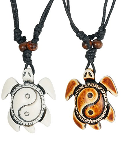 LOYALLOOK 2pcs Sea Turtle Necklace Yin Yang Pendant Necklace with Adjustable Cotton Cord for Boys