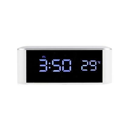 TOOGOO Reloj electronico LED para el hogar Reloj espejo Termometro casero con alarma de escritorio digital