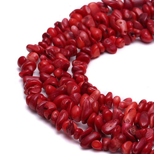 Red Coral Bracelet Chip (Bead Jewelry Making Nice Red Coral Chips Beads 7~8mm 34 Inches Long Approx 34 Inches per Strand)