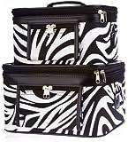 World Traveler Zebra Print Collection Cosmetic Train Case (2 piece set)