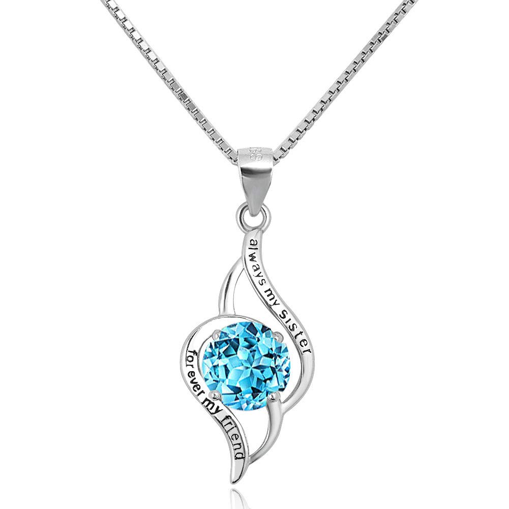 430c17998b Amazon.com: LoEnMe Jewelry 925 Sterling Silver Necklace Sister Friend Heart  Infinity Crystal Pendant Gift: Jewelry