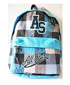 CONVERSE AS All Star Turquoise Blue Checkered Backpack- Casual Backpack -  Back to School Essential a4116bd758827