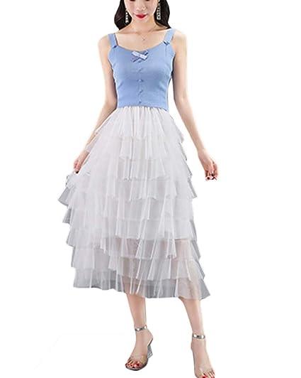 Falda Largas Vintage Mujer, Alta Cintura, Plisada de Múltiples ...