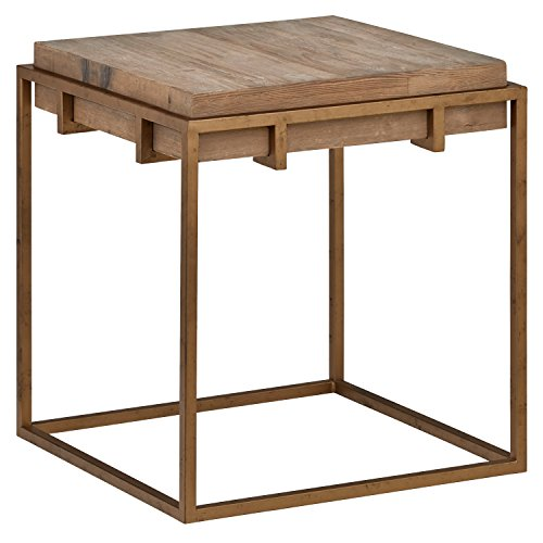 stone beam sparrow industrial square side table 23 6 w wood and gold kitchen. Black Bedroom Furniture Sets. Home Design Ideas