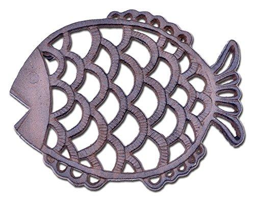 Decorative Cast Iron Trivet Fish Hot Pad 7.75
