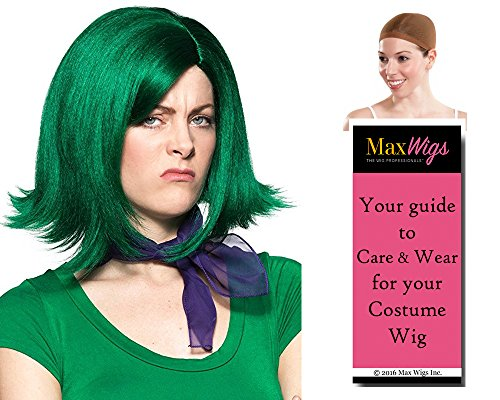 Costume Wig Care (Disgust Inside Out Color Hunter - Enigma Wigs Women's Gust Emotion Personality Bundle with Wig Cap, MaxWigs Costume Wig Care)