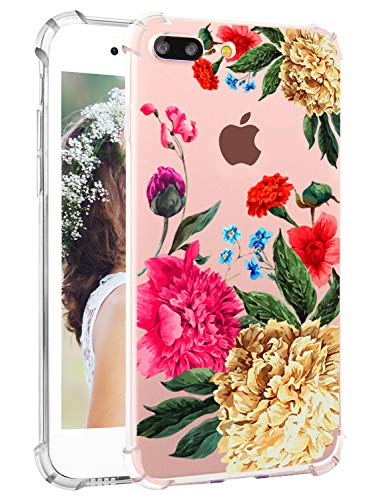 Hepix iPhone 7 Plus Floral Case iPhone 8 Plus TPU Case with Colorful Penoy Blossom Flowers Floral Printed Clear iPhone Case with Protective Bumper Flexible Soft Back Cover Case for Women Girls