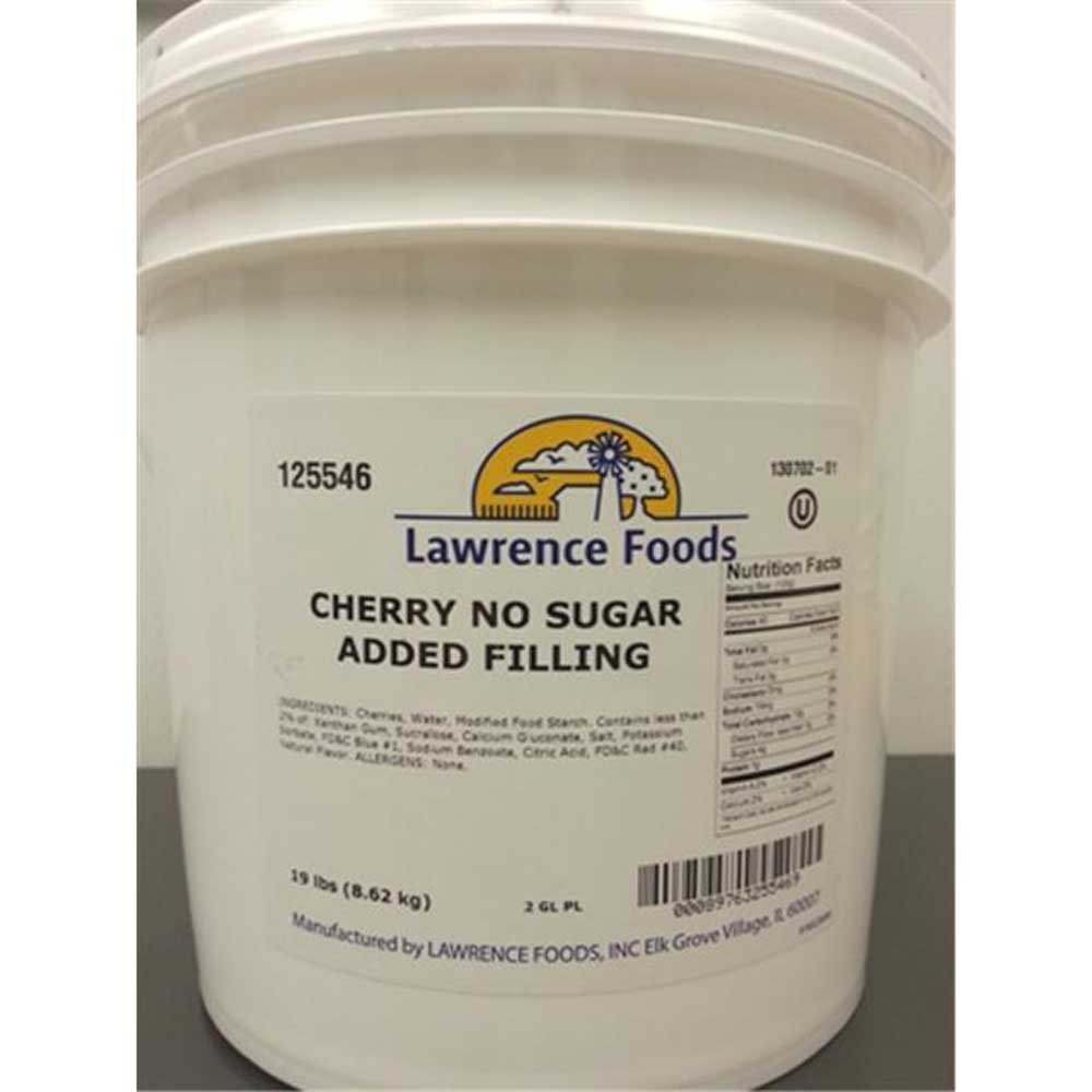Lawrence Foods Cherry No Sugar Added Filling, 2 Gallon Pail - 1 each.