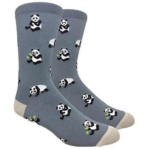 Urban-Peacock Men's Novelty Fun Socks Multiple Themes (Panda Bears - Grey, 1 Pair)