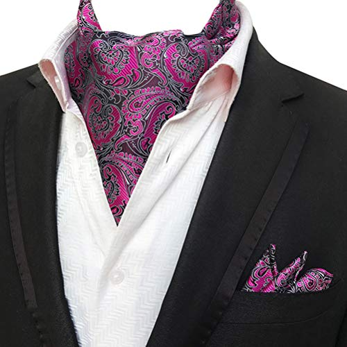 MOHSLEE Men Party Floral Silk Suit Cravat Tie Woven Ascot Pocket Square 2Pcs Set -