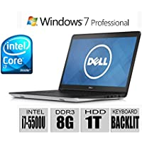 Dell Inspiron 15 5000 Series 15.6-Inch HD Laptop (Intel i7-5500U Processor 3M Cache up to 3.00 GHz, 8GB, 1TB HDD, Backlit Keyboard, Bluetooth, Windows 7 Professional 64bit) Silver