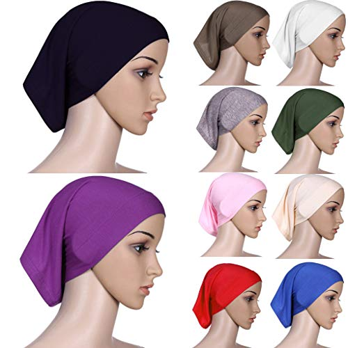 Coco-Z 2019 comf Muslim Inner Hijab Headscarf Cap Islamic Full Cover Islamic Hat Pink by Coco-Z (Image #3)