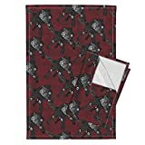 Glimmericks Tea Towels Steampunk Wolfpack Black Wolves Red Texture Large by Glimmericks Set of 2 Linen Cotton Tea Towels
