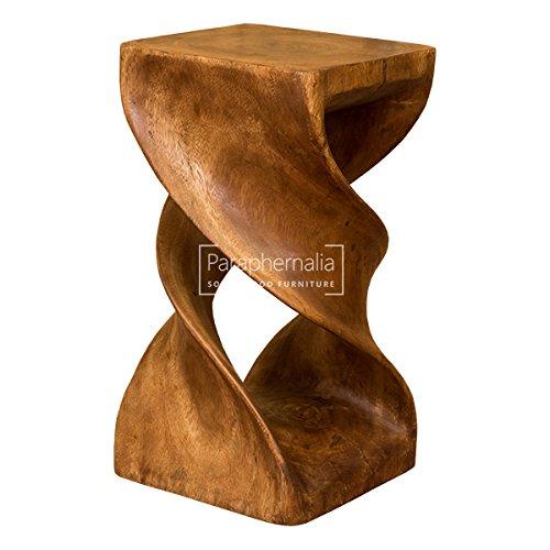 Monkey Pod Wood Twist Stool / Table   Double Twist   Brown Wax Finish (Part