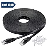 Cat-6 Ethernet Cable 100 ft Black Flat with Cable Clips - Internet Network Cable - High Speed Faster Than Cat5e Cat5 Computer LAN Wire with Snagless Rj45 Connectors