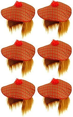 Adults Scottish Tartan Hat With Hair Unisex Tam o Shanter Fancy Dress Accessory