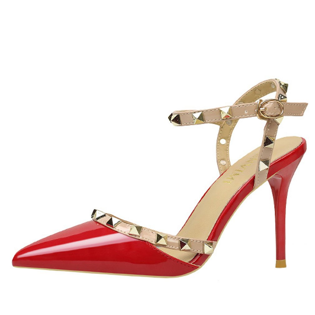 Xianshu de Femmes Bouche Peu Chaussures Pointu Profonde Orteil Pointu Rivet Chaussures à Talons Hauts Sangle de Cheville Boucle Chaussures de Cour Sandales Rouge 7d1fc7d - reprogrammed.space