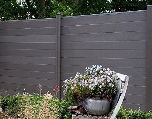 WPC / BPC Sichtschutzzaun terrasso 180 x 180 cm dark grey