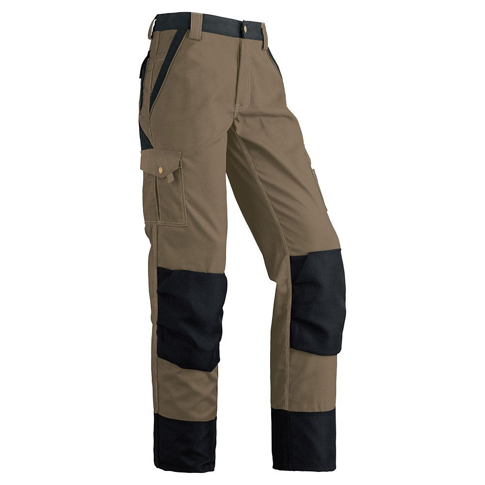 Pioneer V2040470-36X34 Heavy-Duty Work Pants - Reinforced Knees - 8 Pockets, Black, 36X34