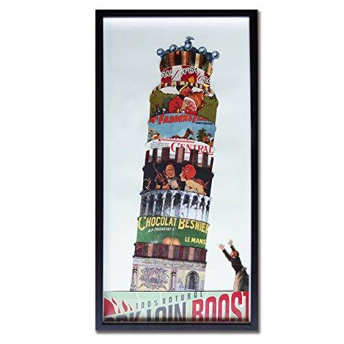 3Hdeko-Pisa Tower Modern Wall Art Paper 3d Art Collag with Black PS Frame Glass Cover Size 13×26 Inch Original Design Handmade Fine Art for Home Decor…
