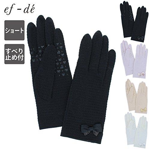 (エフデ) ef-de UVカット UV手袋 ショート丈 23cm 五指 すべり止め付 ストライプ生地にリボン 女性用Mサイズ