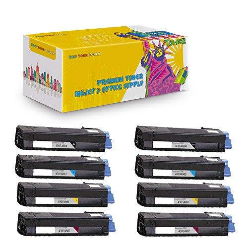 (New York TonerTM New Compatible 8 Pack 43034801 43034802 43034803 43034804 High Yield Toner For OKI : C3100   C3100n. --Black Cyan Magenta Yellow)
