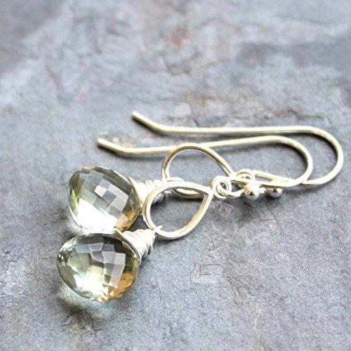 Green Amethyst Earrings Sterling Silver Prasiolite Dangle Mint Green Gemstones (Green Precious Stone)