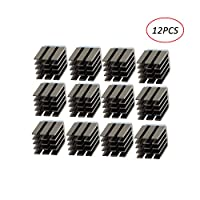 FYSETC 3D Printer Accessories and Parts, Stepper Motor Driver Heat Sink Aluminum Heatsinks Cooling Fin Drivers Ultra-silent for TMC2100 A4988 DRV8825 TMC2208 TMC2130 Motor Driver - 12 Pcs, Black from Fuyuansheng