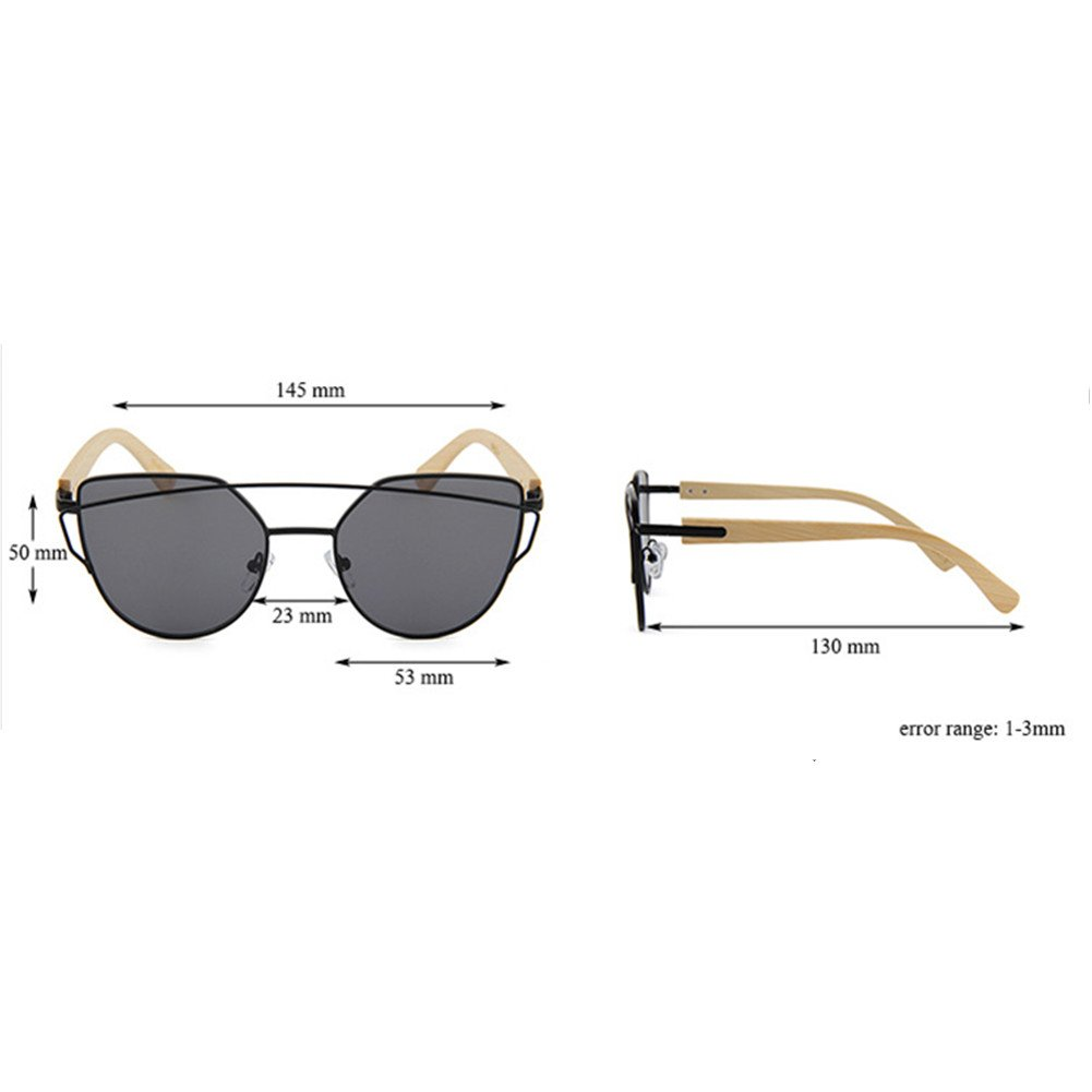 BEESCLOVER Stylish Flat Mirrored Sunglasses UV400 Clean Bamboo Frame Vision Classic Glasses Eyewear for Woman Man