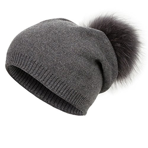 (EVRFELAN Winter Raccoon Fur Pompom Knit Hat Beanie Warm Thick Skull Color Fashion Cashmere Blend Slouchy Beanies for Women (Grey))