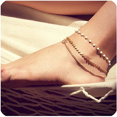 Zealmer Layered Gold Chain Anklet Beads Sequin Anklet Bracelet Beach Foot Jewelry