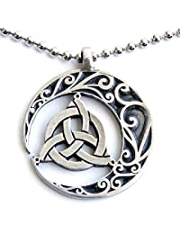 Pagan Celtic Pendant Trinity Triquetra Crescent Moon Pewter w Silver Ball Chain