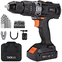 """Tacklife PCD04B 20V MAX 1/2"""" Cordless Drill Driver Set with Hammer Function, 2-Speed Max Torque 310 In-lbs, 43pcs Accessories Included, 2.0Ah Lithium-Ion Battery"""