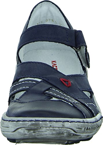 Kacper 2-4331 Ballerina Damenschuh Sandale Echtleder Ziernähte Gepolsterter Fersenbereich Farbe: Blau