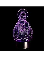 Lámpara de ilusión LED 3D Luz de bulbo óptica de Jesucristo Luz de noche de Jesús 7 colores Regalo Decoración para el hogar Lámpara de luces nocturnas