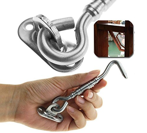 2 Set Silver Hardware Thicken Stainless Steel Window Hook Clasp Door Gate Lock Latch Hook and Eye Catch Silent Holder with 8 x Install Screws(188mm/7.4inch) by Upstore (Image #7)