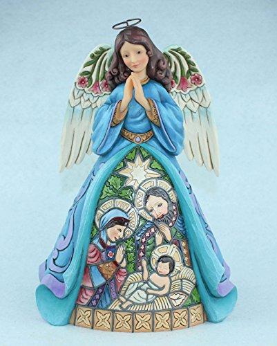 Enesco Jim Shore Praise Thee With Joy of Angels Stained Glass Angel Figurine 4055051 - Joy Nativity Figurine