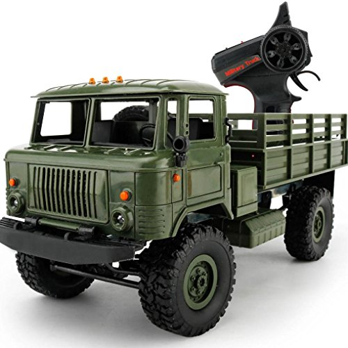 Kanzd WPL B-24 1:16 4WD RC Military Truck Wireless Remote Control Car Toy (Green)