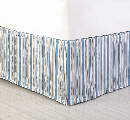 (Laurel & Mayfair 78 by 80 by 15-Inch Jacobean Bedskirt, King, Blue )