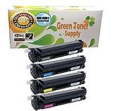 Green Toner Supply (TM) New Compatible [HP CF410X HP410X] 1 Black, 1 Cyan, 1 Yellow, 1 Magenta LaserJet Toner Cartridge HP Color LaserJet Pro M452, M377, M477