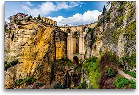 CALVENDO Premium Lienzo 75 cm x 50 cm Horizontal, El Puente Nuevo (Nuevo Puente), Ronda, España Imagen sobre Lienzo, Imagen Lista en Lienzo auténtico, impresión en Lienzo Orte Lugares: Konietzny, Thomas: Amazon.es: