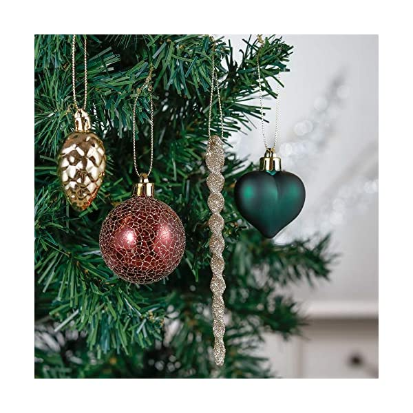 Valery Madelyn Palle di Natale 60 Pezzi di Palline di Natale, 3-5 cm di Strada di Campagna Rosso Verde e Oro Infrangibile Ornamenti di Palla di Natale Decorazione per la Decorazione 4 spesavip