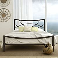 Amisco Equinox Metal Bed, Queen Size 60, Cobrizo/Textured Dark Brown
