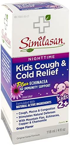 Similasan Kids Nighttime Cough & Cold Relief Plus Echinacea for Immunity Support 4 Ounce, for Cough and Cold Relief in Children Ages 2 and Up, Formulated with Natural Active Ingredients