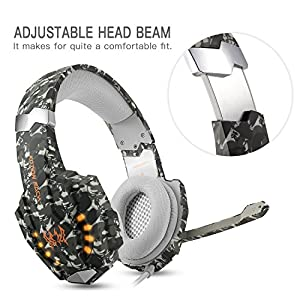 ECOOPRO Gaming Headset for PS4 3.5mm Stereo Noise Isolation Over Ear Headphones LED Lights & In-line Volume Control with Mic Microphone for PS4, PC, Laptop (Camouflage)