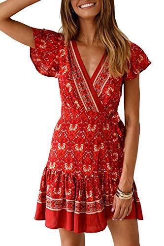 ANDUUNI Womens Bohemian Printed Short Dresses Summer V Neck Beach Coverup Short Dresses with Belt