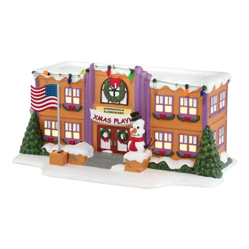 Department 56 The Simpson's Village Springfield Elementary School Lit House,  5.12 inch (Christmas Collectibles Village)