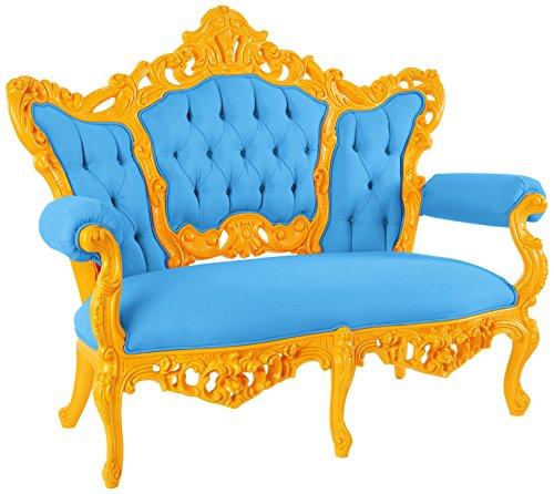 POLaRT Designs 611B_FN_SAU Loveseat with Canvas Capri Upholstery, Sunrise Orange Finish