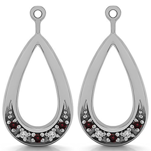 1/10 ct. Diamonds (G-H,I1-I2) and Ruby Genuine Ruby and Diamond Chandelier Earring Jacket in 14k White Gold (0.1 ct. twt.) (14k Diamond Chandelier Earrings)